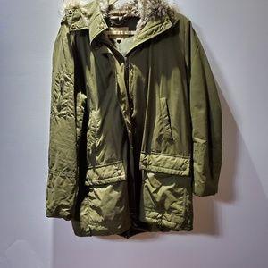 Banana Republic faux fur lined utility olive coat